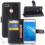 Кожен калъф тип портмоне с кръгло капаче за Huawei P9 lite mini - черен