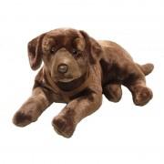 Merkloos Liggende bruine labrador honden knuffel 50 cm - Knuffel huisdieren