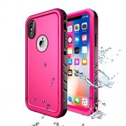 iPhone X Waterproof Case/iPhone XS Waterproof Case,Wireless Charging Support iPhone X Waterproof Shockproof Full-body Rugged Cover Case with Built-in Screen Protector for iPhone X /iPhone XS (Pink)