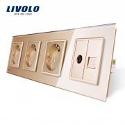 Priza cvadrupla Livolo cu rama din sticla 3 prize simple+TV/internet, auriu