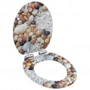 vidaXL Тоалетна седалка с плавно затваряне, МДФ капак, морски камъчета