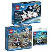 LEGO City Space Explorer Bundle Space Utility Shuttle 60078 Space Starter Set 60077 and Mini Moon Buggy Vehicle 30315