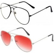 I KING Aviator Sunglasses(Clear, Red)