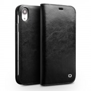 QIALINO Genuine Cowhide Leather Wallet Case for iPhone XR 6.1 inch - Black