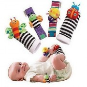 Kuhu Creations Cute Stylish Soft Baby Rattles.(4 Units Style D Multicolor 2 Wrist 2 Foot Rattle)