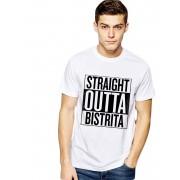 Tricou alb barbati - Straight Outta Bistrita