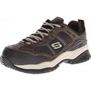 Skechers, Zapatos para trabajo antideslizantes, Soft Stride Grinnel 77013, Marrón/Negro, 27.5 Ancho Medio