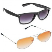 Magjons Fashion Combo Of Black Wayfarer Orange Aviator Sunglasses