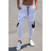 Pantaloni cu Bretele Dama Alb EP2