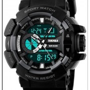 SKMEI DUAL TIME Black Analog-Digital Sports Watch WITH FREE FORMAL STYLE WATCH