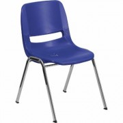 Flash Furniture Plastic Student Stack Chair - Navy w/ Chrome Frame, 17.25Inch W x 21.5Inch D x 29Inch H, Model RUT16NVYCHR