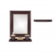 Set oglinda, polita, suport pentru prosop, sapun lichid, periuta, sapun din plastic pentru baie cu aspect de ratan, Escalate