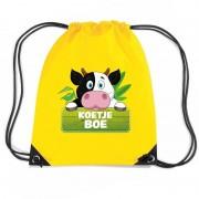 Bellatio Decorations Koetje Boe koeien trekkoord rugzak / gymtas geel voor kinderen