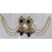 Purple Drop Jhumka with Pearl Ear Chain Earring
