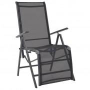 vidaXL Регулируем стол-шезлонг, textilene, черен, 58,5x69x110 см