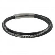 Les Poulettes Bijoux Bracelet Homme Cuir Noir Trois Liens - taille 19 cm