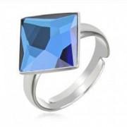 Inel argint 925 rodiat cu swarovski elements Bermuda Blue Dimensiune cristal 10 mm
