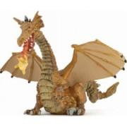 Figurina Papo-Dragon inaripat auriu cu flacara