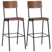 vidaXL Бар столове, 2 бр, дърво, кафяви, твърд шперплат, стомана