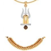 Dare by Voylla Rudraksha Trishul With Shivling Pendant Chain With Rudraksha Gold Tone Bracelet Combo