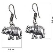 D G Jewellery Black Metal Silver Oxidised Dragon Elephant Design Earring