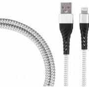 Cablu de incarcare/transfer date USB la Lightning lungime 1M ranforsat Argintiu SHO1383