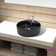 vidaXL Crni okrugli keramički umivaonik sa zaštitom od prelijevanja