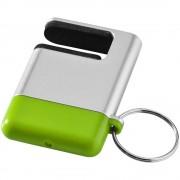 Suport telefon de birou cu functie de curatare ecran, Everestus, STT082, abs, plastic, gri, verde lime, laveta inclusa