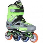 Oxer Patins Oxer Graffiti - In Line - Freestyle - ABEC 7 - Adulto - CINZA/VERDE