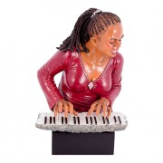 Enfeite Mulher Pianista 48X31X28 Vermelho Oldway
