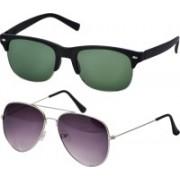 Freny Exim Aviator, Clubmaster Sunglasses(Green, Violet)