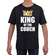 Bellatio Decorations King of the couch t-shirts voor thuisblijvers tijdens Koningsdag zwart kinderen / jongens S (110-116) - Feestshirts