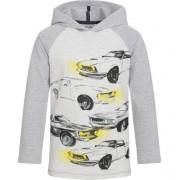Endo Koszulka z długim rękawem i kapturem dla chłopca, z samochodami, szara, 3-8 lat