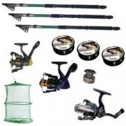 Set pescuit sportiv de 3 lansete eastshark 3 6m 3 mulinete 3 gute si juvelnic