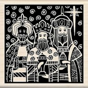 Inkadinkado Christmas Mounted Rubber Stamp 3 by 3-Inch Three Kings