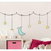 TenStickers Muursticker sterren en maan aan draad