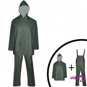 vidaXL Vodootporno Izdržljivo Dvodjelno Kišno Odijelo sa Kapuljačom Zeleno M