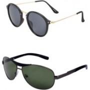 Yaadi Wrap-around, Cat-eye Sunglasses(Green, Brown)