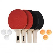 Chef Rimer Table Tennis Set 4 Player Lightweight Ping Pong Paddles Premium Rubber Rackets Pack. 6 Balls. Outdoor 2 or 4 Players Table Tennis Game. Bats For Kids,Adults,Junior,Recreational,Professional