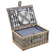[casa.pro]® Piknik kosár - 4 személyes - evőeszköz, pohár, tányér (kék/fehér)