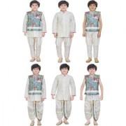 Jeet Cream Jacket Kurta Pyjama Dhoti Suit for Boys