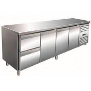 Saro Comptoir Réfrigéré INOX 3 Portes + 2 Tiroirs 2230x700x890/950(h)mm