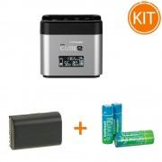 Kit Hahnel Pro Cube 2 Incarcator pentru Canon + Acumulator Dedicat LP-E6 + Set 4 Acumulatori tip AA 2500mAh