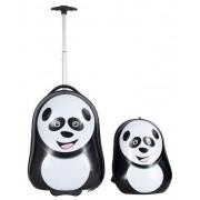 Borg Design Trolley och ryggsäck - Panda - 2 delar - Hård Abs/polycarbonat