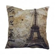 Almofada Impressão Digital Paris – Torre Eiffel I Bege 42x42cm Uniart