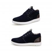 Zapatos Casuales Para Hombre Respirable Estilo De Inglaterra De Moda Zapatos Deportivos-Azul