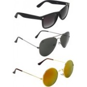 Zyaden Wayfarer, Aviator, Round Sunglasses(Black, Black, Multicolor)