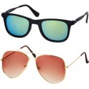 Freny Exim Aviator, Wayfarer Sunglasses(Green, Orange)