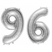 Stylewell Solid Silver Color 2 Digit Number (96) 3d Foil Balloon for Birthday Celebration Anniversary Parties
