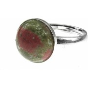 Inel argint reglabil cu unakit natural 10 MM GlamBazaar Reglabila cu Unakit Verde tip inel reglabil de argint 925 cu pietre naturale